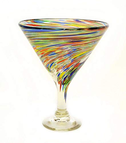 (Set of 4, Multi-color Twisted Martini Glasses-Mexican Recycled Glass-12 Ounces)