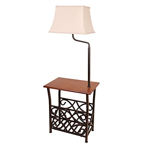 54-in 3-Way Switch Bronze Fabric Shade Lamp with Magazine Rack and Side (Shade 3 Way Switch)