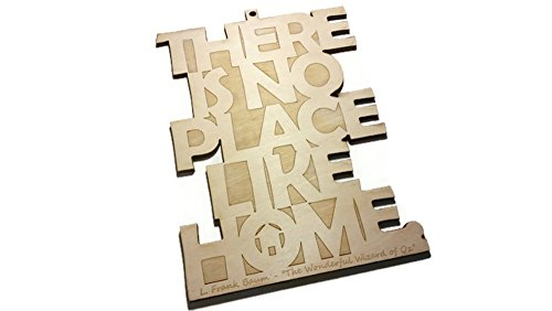 L Frank Baum The Wonderful Wizard of Oz Literary Quote Wall Art - There is No Place Like Home - 7.25 in by 9.75 in - Birch
