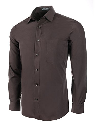 Marquis Slim Fit Dress Shirt - Chocolate,Medium 15-15.5 Neck 32/33 Sleeve