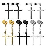 JDXN 5 Pair Stainless Steel Stud Earrings Cross Dangle Hoop Cross Pierced Earrings Set For Women Men (Style 1)