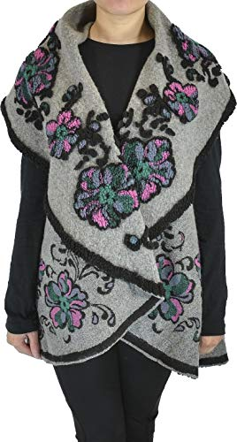 - Hand By Hand Aprileo Women's Floral Plaid Poncho Reversible Vest Knit Cape Ruana [03 Gray Black](One Size)