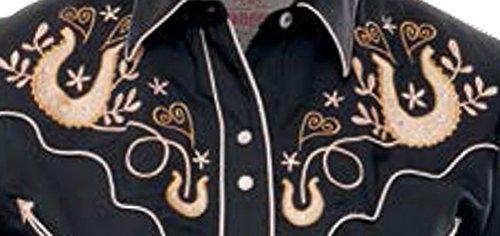 Modestone Vaquera Women's Horseshoes Black Embroidered Long Camisa Hearts Western Sleeved BnHpwBrxqY