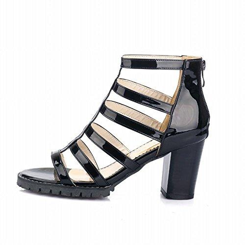 Toe Foot Zipper High Heeled Black Sandals Top Charm Womens Open Chunky Western ZIIqd1