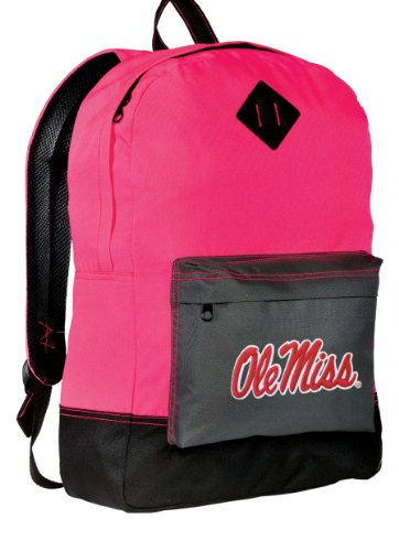 Broad Bay University of Mississippi Backpack Classic Style Ole Miss Backpacks High Visibility Gift for Her Girls Women