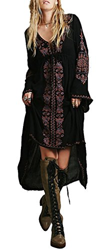 R.Vivimos Women Cotton Embroidery Loose High Low Long Dresses XX-Large (Western Dress Clothes)