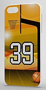 Basketball Sports Fan Player Number 39 White Plastic Decorative iphone 4s Case