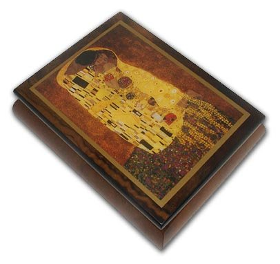 Abstract Romantic Couple Theme Inlaid Small Ercolano Music Box with 18 Note Tune-My Favorite Things (Richard Rogers)