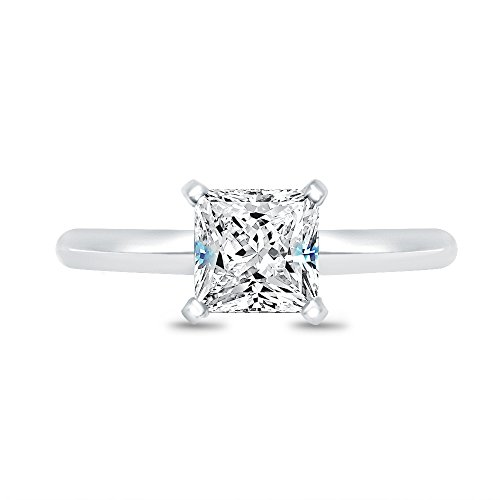 Size - 7 - Solid 925 Sterling Silver Princess Cut Knife Edge Band Solitaire Engagement Ring Highest Quality CZ Cubic Zirconia 1.0ct.