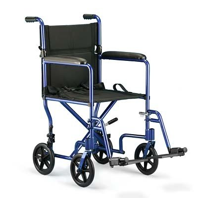 Invacare Aluminum Transport Chair, Blue