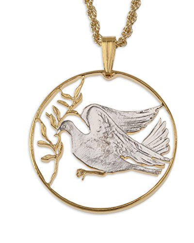 (Dove of Peace Pendant and Necklace, Vatican Coin Hand Cut, 14 K Gold and Rhodium Plated, 1 )