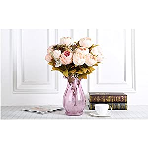 Pack of 2 Artificial Flowers Vintage Fake Silk Peony Flowers Wedding Bush Bouquet Arrangement for Home Decor Party Floral Wreath Centerpieces Decoration and DIY (Light Pink) 3