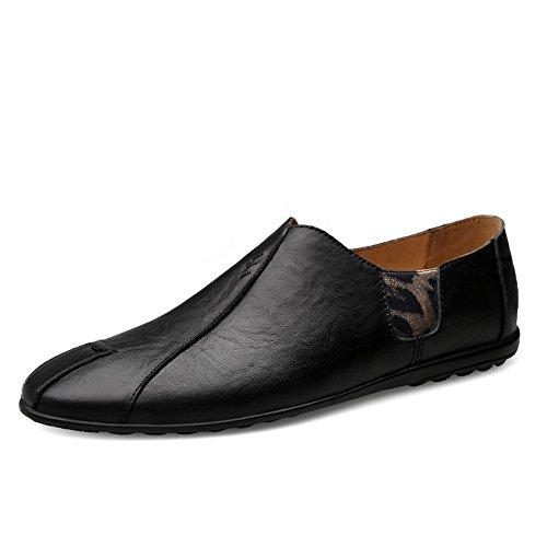 pelle da uomo EU vera Uomo Mocassini 2018 Da shoes Nero 42 Color guida Shufang on in Mocassini Vamp cucita a con eleganti suola Dimensione da morbida Slip Scarpe Mocassini wxq6Pf8