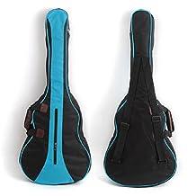 """Folk Ukulele Acoustic Guitar Durable Protective Cover 36"""" Backpack Big Bag Carry Case Black + Blue"""