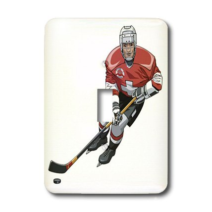 3dRose lsp_38274_1 Hockey Player With Stick On Single Toggle Switch ()
