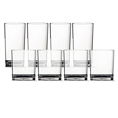 8pc Classic Break-resistant Restaurant-quality SAN Plastic Tumblers, four 14-ounce rocks and four 18-ounce water