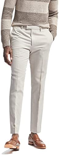 Banana Republic Mens Standard Fit Linen Blend Trousers Pants Light Grey 38W X 32L
