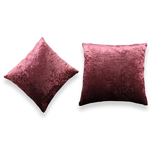 Pack of 2 Crushed Velvet Throw Pillow Covers - Soft Soild Decorative Cases for Couch Sofa Home Deco - Dark Purple, 18x18 Inch