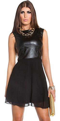 Top koucla robe en chiffon-cuir noir avec jupe/s (36/38/40