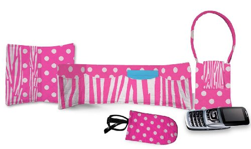 Daisy Kingdom Easy Cut and Sew Accessory Kit, Pink Zebra (Single Face Quilted Cotton Fabric)