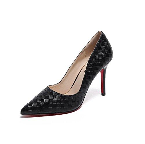 LBDX Primavera Zapatos Cómodos de Tacón Alto Delgado de Tacón Alto Carrera Coreana Zapatos de Mujer Negro