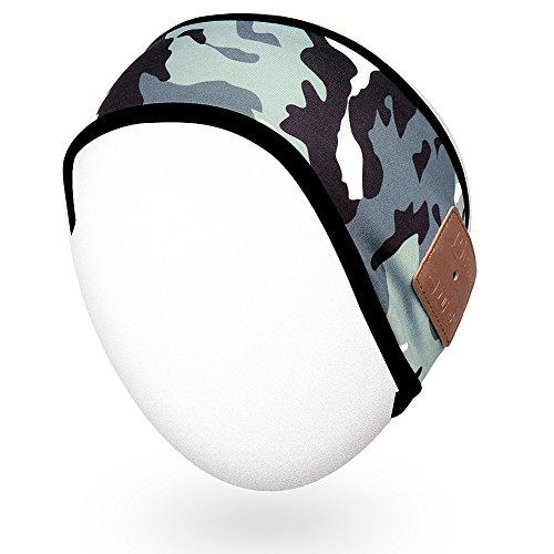 Rotibox Lightweight Sweatproof Bluetooth Headband Headphone Headset Earphone Audio Running Headband Speakerphone w/Stereo Speaker & Microphone Hands-Free for Gym Exercise Sports - Urban Camouflage