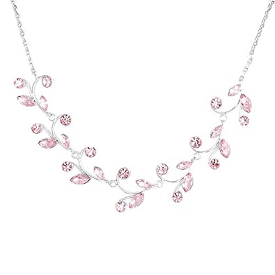 Glamorousky Pink Leaves Necklace with Pink Austrian Element Crystals (978) uw0o7