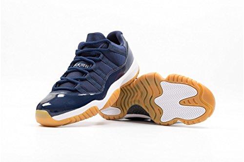 Nike Chaussures Pour Hommes Air Jordan 11 Retro Low Navy Gum en Cuir et Tissu Bleu 528895-405