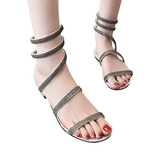 (Duseedik Fashion Women's Sandals Roman Cross Strap Rhinestone Flat-Bottom Ladies Sexy Outdoor Shoes Silver)