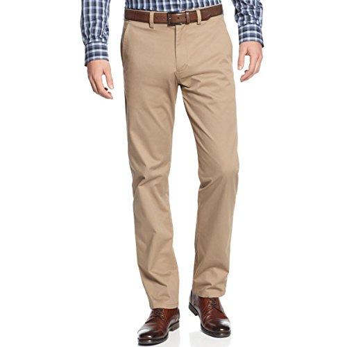 Kenneth Cole Reaction Khaki (Kenneth Cole Reaction Men's Premium Stretch Twill Slim Fit Flat Front Pant, British Khaki, 34x29)