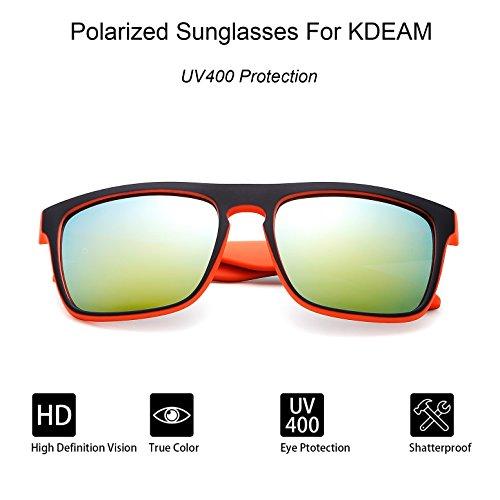 Gafas Lens sol KDEAM Black de Frame para Gold Mirror hombre 7qx4dz