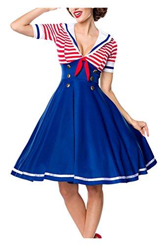Marinelook Kleid Rot Retro Blau Swing im Belsira Damen Style Weiß aFHqxp5P