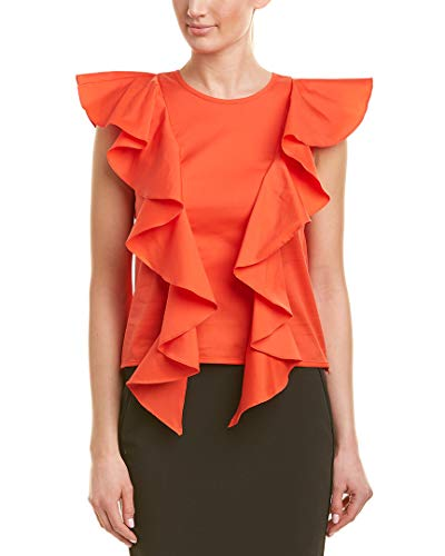 MILLY Womens Ruffle Top, 2, Red