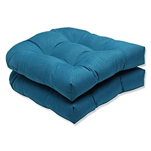Pillow Perfect Indoor/Outdoor Wicker Seat Cushion (Set of 2) with Sunbrella Spectrum Peacock Fabric, 19 in. L X 19 in. W X 5 in. D