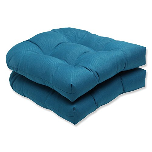 Pillow Perfect Indoor/Outdoor Wicker Seat Cushion (Set of 2) with Sunbrella Spectrum Peacock Fabric, 19 in. L X 19 in. W X 5 in. D ()
