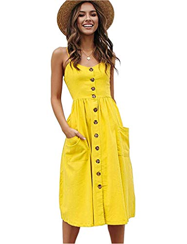 - Halife Womens Summer Sundresses V-Neck Spaghetti Strap Button Down A-Line Backless Swing Dress Yellow S