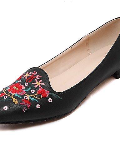 Flats de Toe piel black mujer cerrado cn39 Toe talón de zapatos plano eu39 casual PDX uk6 vestido punta negro us8 wpqECPvn