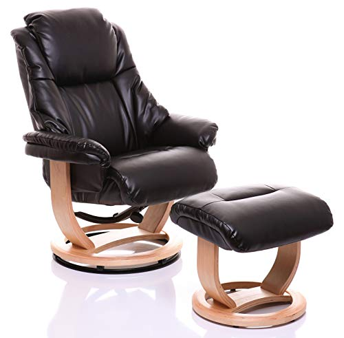 Morris Living The Emperor Bonded Leather Recliner Swivel Chair & Matching Footstool in Black