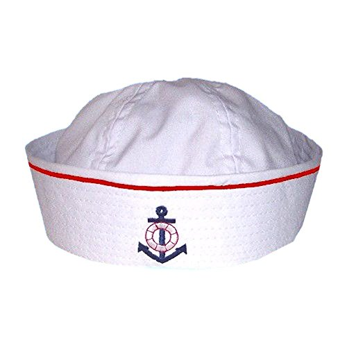 Baby Sailor Hat with Embroidered Anchor and Pinstripe (Medium, White with Red (White Hat Pin)