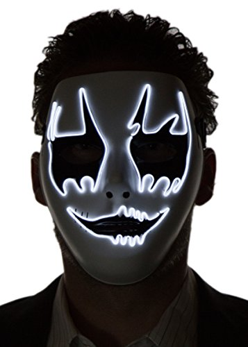 Neon Nightlife Men's Light up Clown Mask, One Size, White