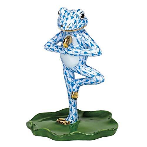 (Herend Yoga Frog Tree Pose Porcelain Figurine Blue Fishnet)