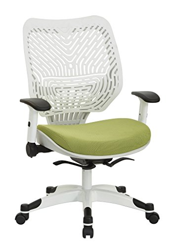 SPACE Seating Pulsar Self Adjusting SpaceFlex White Backrest Support and Padded Mesh Seat with Height Adjustable Flip Arms and Coated Nylon Base Managers Chair, Olive