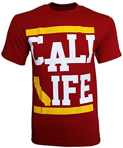 California Republic Cali Life Red Men's T-Shirt - (Red) - Small