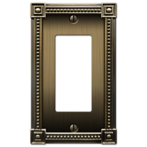 Bead Gfci Plate (Amerelle 92RBB  1 Rocker-GFCI Traditional Bead Cast Metal Wallplate, Brushed Brass)