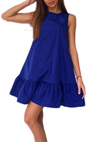 La Mujer Es Elegante Ruffle Patchwork Playa Verano Túnica Shift Dress Blue