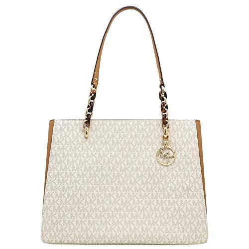Michael Kors Sofia Large Signature MK Shoulder Tote Bag in Vanilla/Acorn (Michael Kors Vanilla Handbags)