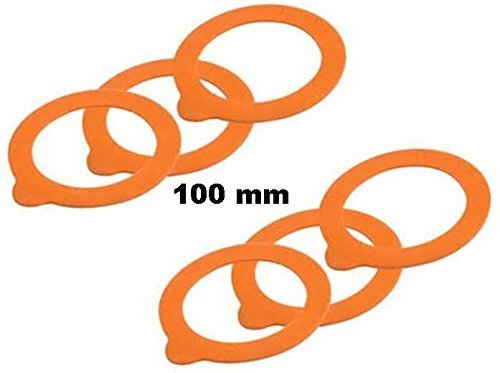 Rubber Le Parfait Glass Canning Jar 100mm Replacement Gaskets for 3 L Super Jars & 1000g Terrine Jars (Large Size) - Pack of 6