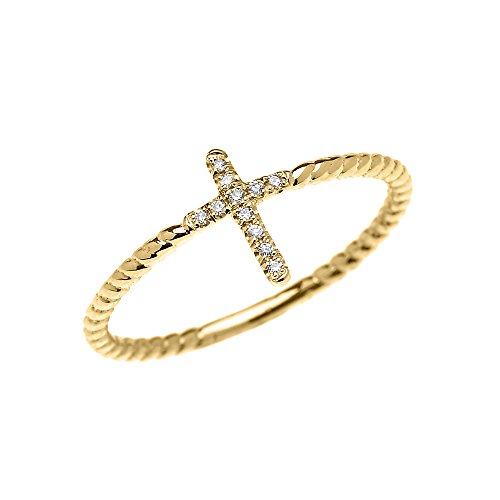 10k Yellow Gold Dainty Diamond Cross Rope Design Ring (Size 5.5) 10k Rope Cross