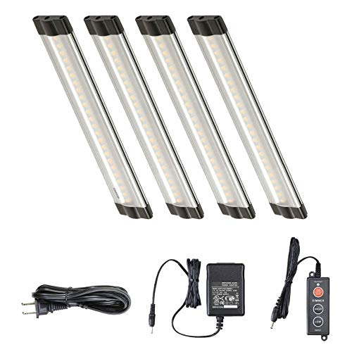 (Lightkiwi Dimmable LED Under Cabinet Lighting 4 Panel Kit, 6 Inches Each, Warm White (3000K), 7.2 Watt, 24VDC, Dimmer Switch & All Accessories Included, Low Profile, Sturdy Aluminum Body, UL Listed)