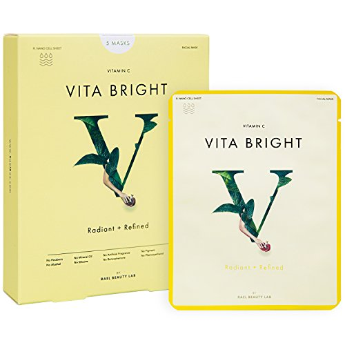 41J2PNcU0YL Rael Vita Bright Face Mask With Vitamin C, Antioxidant Face Mask For Brightening, Radiance And Refinement, Best For Skin With Dullness Or Pigmentation, 5 Sheet